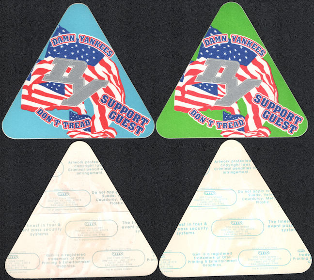 ##MUSICBP0125 - Pair of Damn Yankees OTTO Cloth Backstage Passes from the 1992 Don't Tread Tour