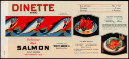 #ZLCA234 - Dinette Salmon Can Label - As Low as $1 ea