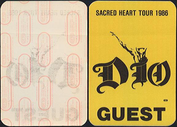 ##MUSICBP0468 -1986 Dio Sacred Heart Tour OTTO Backstage Pass