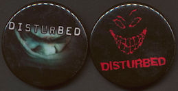 "##MUSICBG0071  -  Pair of Licensed ""Disturbed"" Pinbacks from 2000"