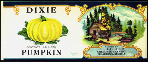 #ZLCA179 - Rarely Seen Dixie Pumpkin Can Label
