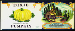 #ZLCA179 - Rarely Seen Dixie Pumpkin Can Label