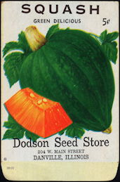#CE129 - Green Delicious Squash Dodson Seed Story 10¢ Seed Pack