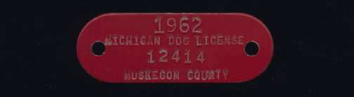 #MS269 - Group of 4 Red 1962 Michigan Enameled Metal Dog Tag Licenses