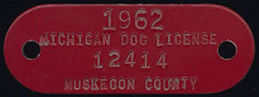 #MS269 - 1962 Michigan Enameled Metal Dog Tag License - as low as 50¢