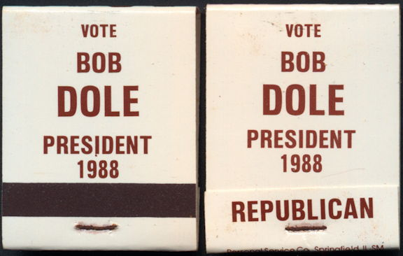 #PL346 - Unused Bob Dole Match Pack from the 1988 Republican Primary