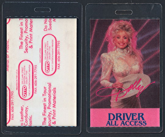 ##MUSICBP0210 - Dolly Parton Laminated Backstage Pass from 1987 Think About Love Tour - As low as $5 each