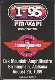 ##MUSICBP0665 - Doobie Brothers OTTO Backstage Pass for the 1989 Concert at Oak Mountain Amphitheatre - Cycles Tour