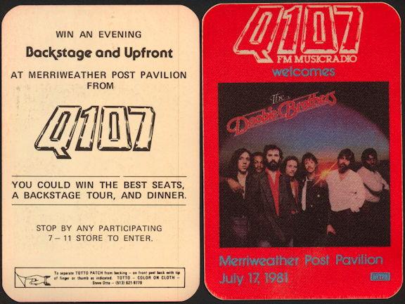 ##MUSICBP0439  - 1981 The Doobie Brothers Radio Promo OTTO Backstage Pass - Q107 - Merriweather Post Pavilion