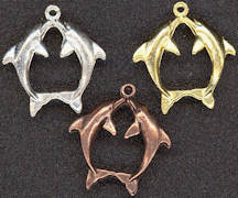 #BEADSC0274 - Double jumping Dolphin Metal Charm