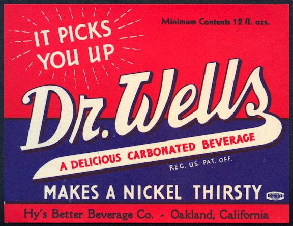#ZLS221 - Dr. Wells Bottle Nickel Soda Bottle Label