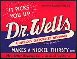 #ZLS221 - Dr. Wells Bottle Nickel Soda Bottle Label