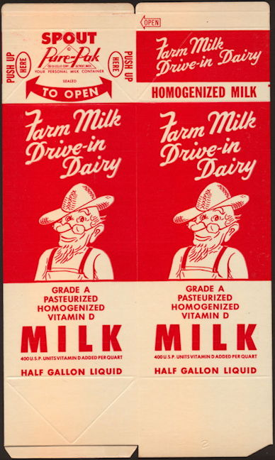 #DA101 - Group of 12 Large Drive-in Dairy Waxed Milk Cartons