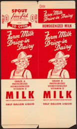 #DA101 - Pair of Large Drive-in Dairy Waxed Milk Cartons