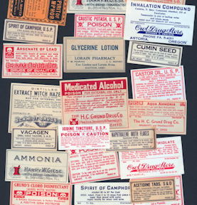 #ZBOT403 - Updated Set of 40 Different Pharmacy Bottle Labels - Lots of  Poisons