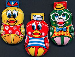#TY045 - Set of 3 Made in Japan Tin Litho Duck Clickers