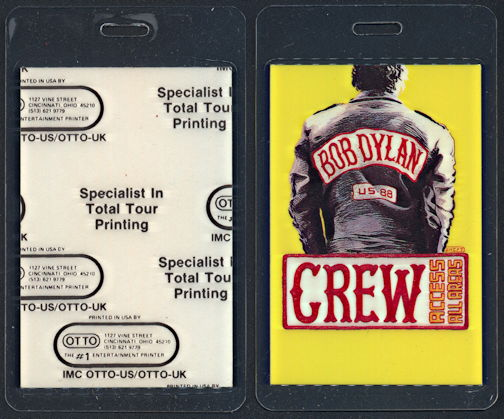 ##MUSICBP0317  - Yellow Laminated 1988 Bob Dylan Interstate 88 Tour OTTO Access All Areas Backstage Pass
