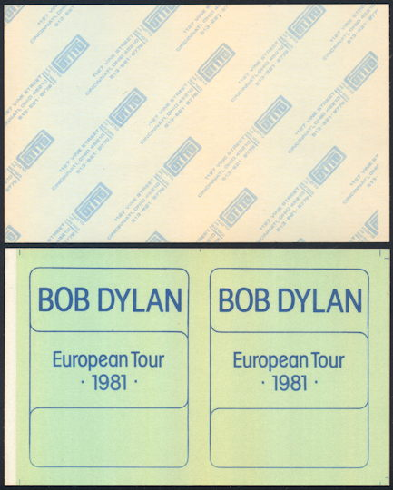 ##MUSICBG0092 - Super Rare Uncut Bob Dylan OTTO Cloth Backstage Pass Sheet with Two Passes from the 1981 European Tour