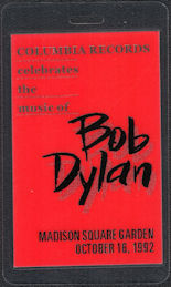 ##MUSICBP0603 - 1992 Bob Dylan OTTO 30 year Anniversary Concert (Featuring Tom Petty) Backstage Pass - Columbia Records - VIP/Hospitality
