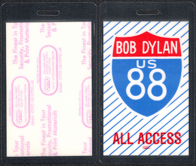 ##MUSICBP0074  - White Laminated Bob Dylan 1988 Tour Backstage Pass