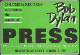 ##MUSICBP0856 - 1992 Bob Dylan 30 year Anniversary Concert (Featuring Tom Petty) Press Box Pass - Columbia Records