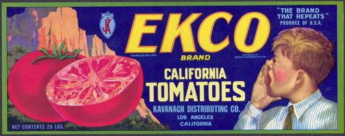 #ZLCA*036 - Ekco Brand California Tomatoes Crate Label