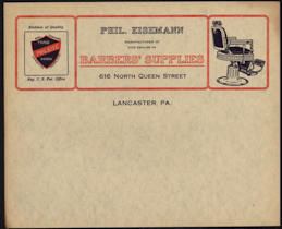 #ZZZ086 - Early and Very Rare Eisemann Barber Supply Letterhead