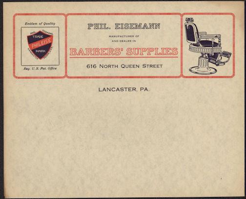 #ZZZ086 - Early and Very Rare Eisemann Barber Supply Letterhead