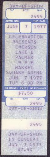 """##MUSICBP0221 -  Rare 1977 Emerson Lake & Palmer Ticket from the """"North America"""" Tour at Market Square Arena"""