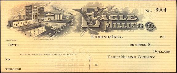 #ZZZ163 - Unused 1930s Eagle Milling Co. Check