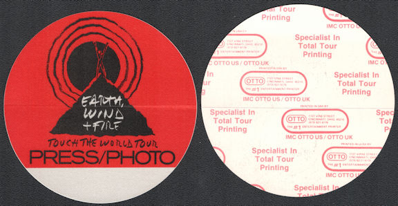 ##MUSICBP0714  - Earth Wind & Fire OTTO Cloth Backstage Press/Photo Pass from the 1988 Touch the World Tour
