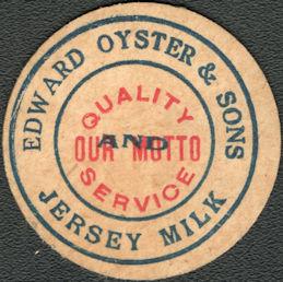 #DC235 - Edward Oyster & Sons Jersey Milk Bottle Cap - Alliance, OH