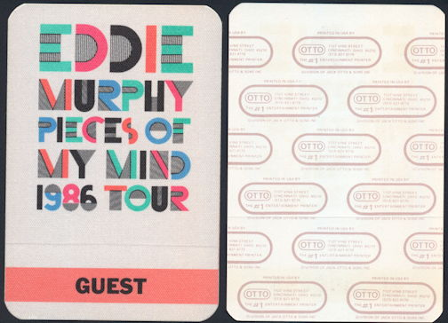 #CH370 - Eddie Murphy OTTO Cloth Backstage Pass from the 1986 Pieces of My Mind Tour