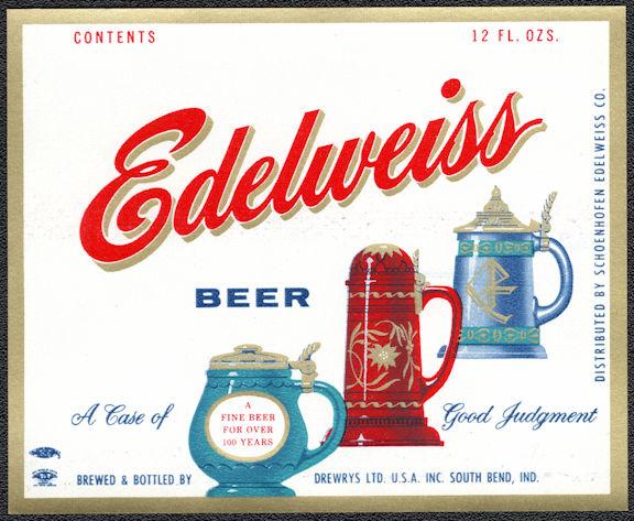 #ZLBE124 - Edelweiss Beer Bottle Label