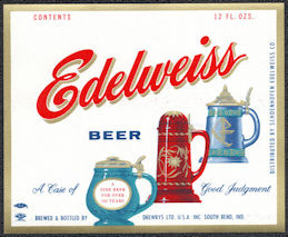 #ZLBE124 - Edelweiss Beer Bottle Label
