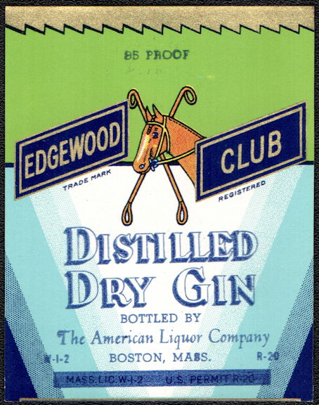 #ZLW167 - Rare Edgewood Club Gin Bottle Label - Horse Pictured