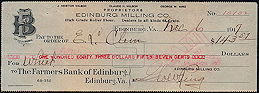 #ZZZ141 - Check from the Edinburg Milling Co. in Edinburg, VA