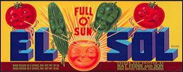 #ZLCA*061 - Full O' Sun El Sol Vegetables Crate Label - Anthropomorphic Characters