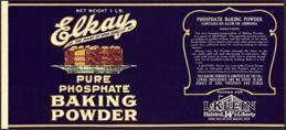 #ZLCA167 - Scarce Fancy Elkay Baking Powder Can Label