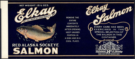 #ZLCA310 - Elkay Red Alaska Sockeye Salmon Can Label - Chicago, IL