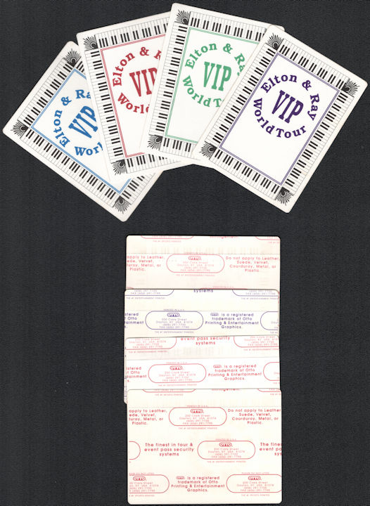 ##MUSICBP0029  - Group of 4 Different Colored Elton John with Ray Cooper OTTO Cloth Backstage Passes from the World Tour