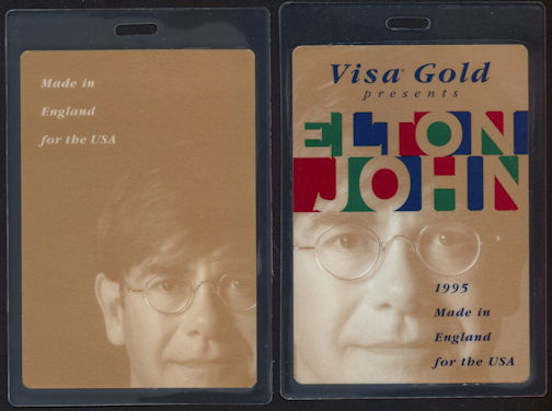 ##MUSICBP0357 - 1995 Elton John Laminated Backstage Pass from the Made in England Tour