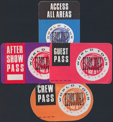 ##MUSICBP0310  - Elton John Cloth OTTO Backstage Pass from the 1989-90 Sleeping with the Past Tour - As low as $2