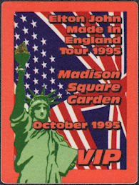 ##MUSICBP0838 - Group of 4 Different Colored Elton John OTTO Cloth Backstage VIP Passes from the Concert at Madison Square Gardens in 1995