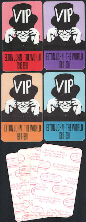 ##MUSICBP0792 - Group of Four Different Colored Elton John OTTO VIP Cloth Backstage Passes from the 1989-90 The World Tour