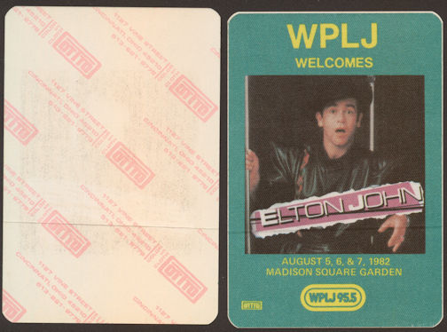 ##MUSICBP0081  - 1982 Elton John at Madison Square Gardens OTTO Backstage Pass - Radio WPLJ