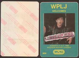 ##MUSICBP0081  - 1982 Elton John at Madison Square Gardens OTTO Backstage Pass - Radio WPLJ