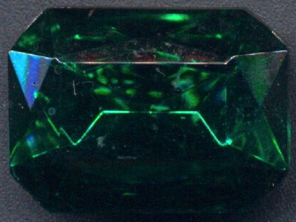 #BEADS083 - Large 25mm Octagon Czech Emerald Colored Glass Rhinestone