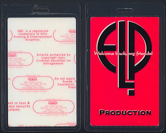 ##MUSICBP0381 - Emerson Lake and Palmer (ELP) OTTO Laminated Backstage Pass from the 1992 Welcome Back my Friends! Tour
