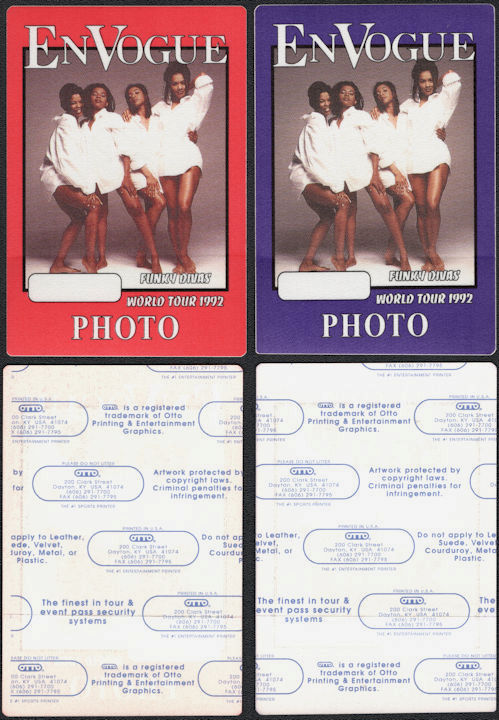 ##MUSICBP0669 - Pair of En Vogue OTTO Backstage Photo Passes from the 1992 Funky Divas Tour